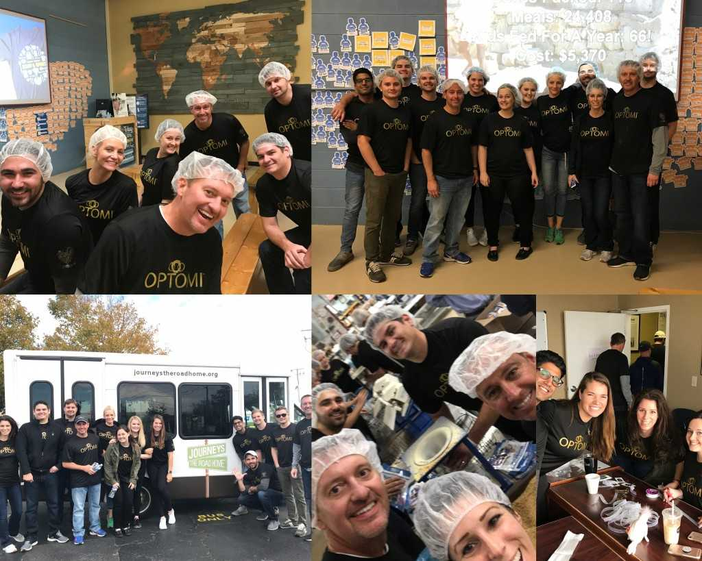 Optomi's Chicago Team volunteers at Journeys: The Road Home and Feed My Starving Children