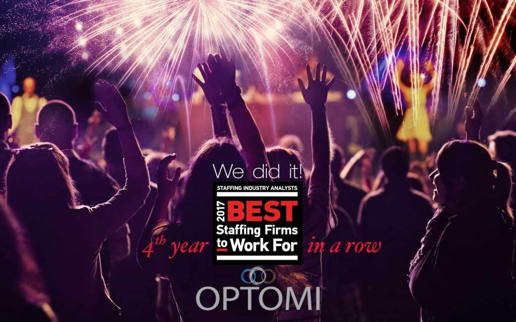 For the Fourth Consecutive Year, Optomi named one of the Best Staffing Firms to Work For®